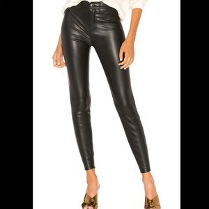 Free People Black Faux Leather Pants NWT